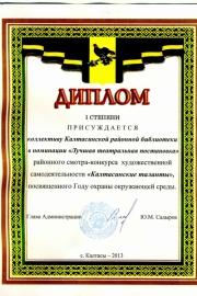Диплом I степени за участие в худ. самолеятельности. 2013г