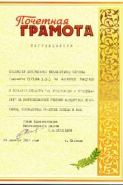 Почетная грамота за участие в эстафете культуры  дек. 1999г